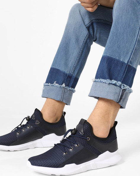 Textured Mid-Top Lace-Up Sneakers By AJIO ( Blue )