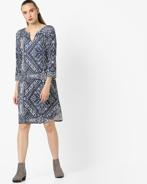 All-Over Print Shift Dress By Avirate ( Grey )