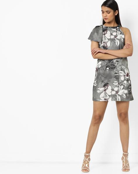Floral Print One-Sleeve Shift Dress By AJIO ( Grey )