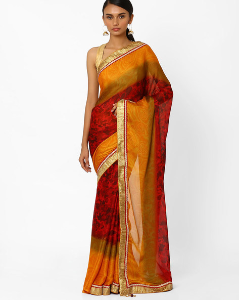 Floral Print Saree With Contrast Border By Akoya ( Maroon )