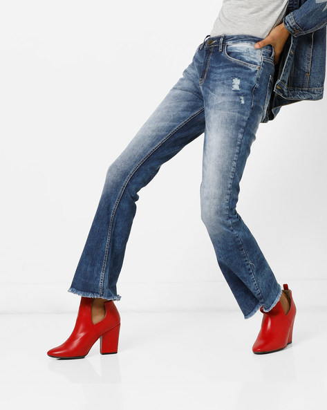 Distressed Boot-Cut Jeans With Frayed Hems By AJIO ( Darkblue )