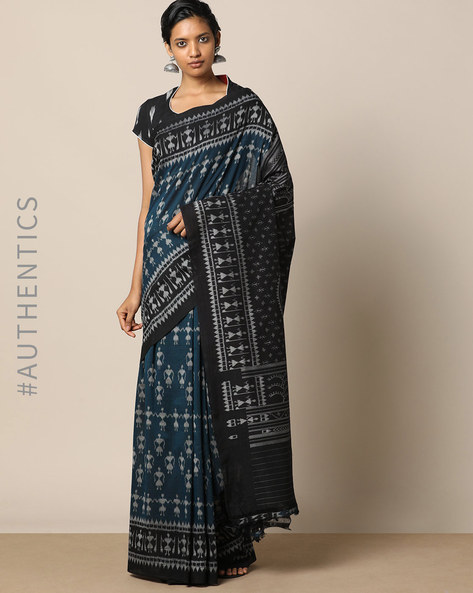 Handloom Warli Design Saura Cotton Saree By Indie Picks ( Navy )