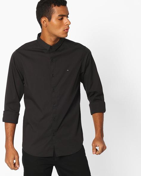Slim Fit Shirt With Curved Hemline By SPYKAR ( Black )