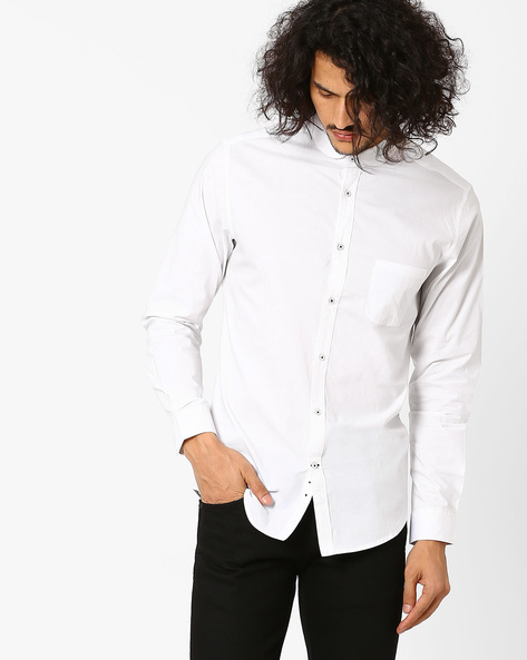 Slim Fit Shirt With Club Collar By MR.BUTTON ( White )