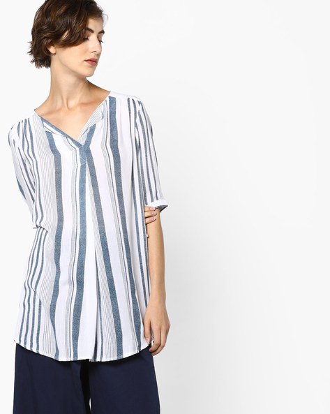 Striped V-neck Tunic By Fame Forever By Lifestyle ( Blue )