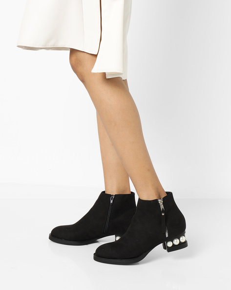 Ankle-Length Boots With Pearl Embellishments By Truffle Collection ( Black )