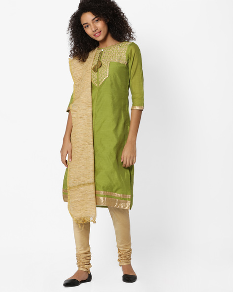 Embroidered Churidar Kurta With Dupatta By AVAASA SET ( Green )