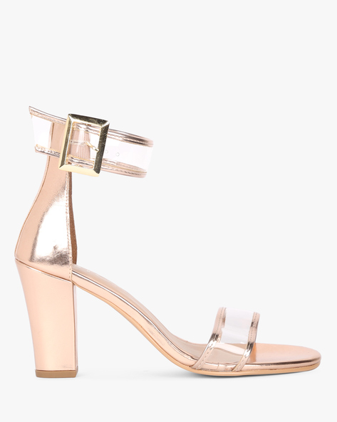 Chunky Heels With Buckle Closure By AJIO ( Rosegold )