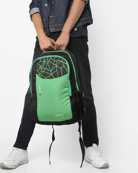 Graphic Print Backpack With Mesh Pockets By Murano ( Green )