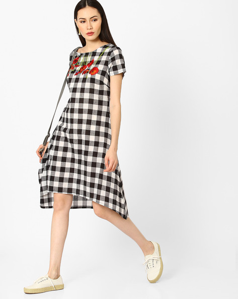 Checked High-Low Dress With Embroidery By AJIO ( Black )