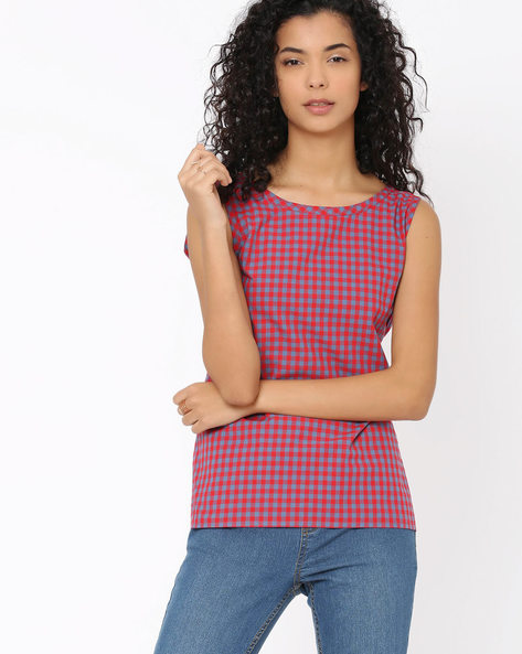 Checked Top By Style Quotient By Noi ( Multi )