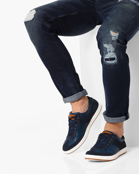 Lace-Up Sneakers With Perforations By Spunk ( Navy )