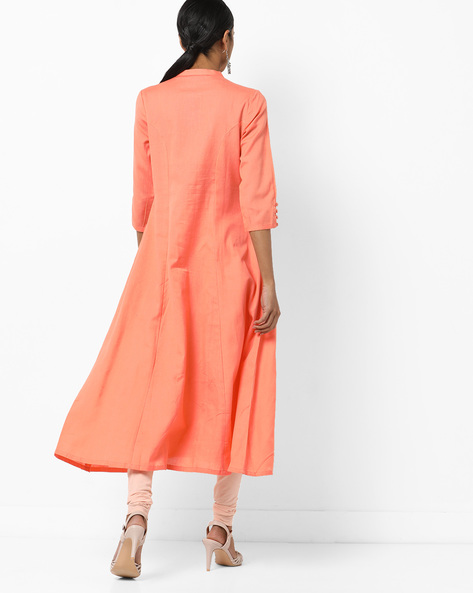 Embroidered Flared Kurta With Mandarin Collar By AJIO ( Coral )