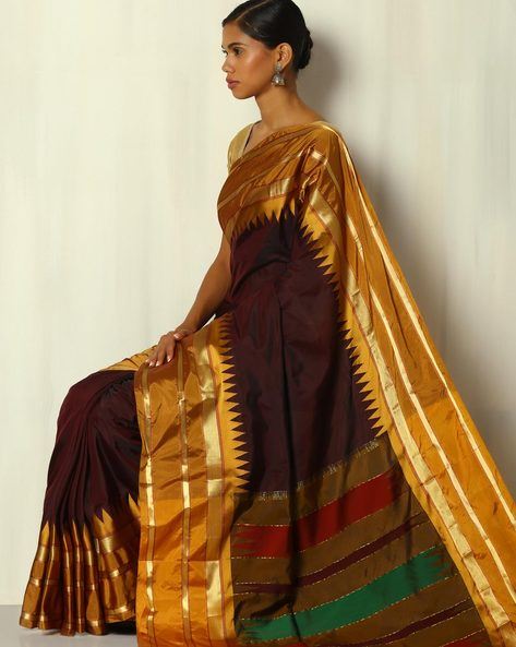 Arni Temple Border Pure Silk Mix Saree By BANASURI ( Brown )