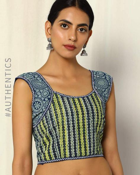 Hand Embroidered Indigo Print Sleeveless Cotton Blouse By Molcha ( Blue )