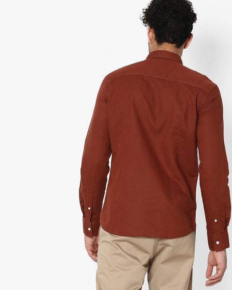 Slim Fit Shirt With Button-Down Collar By FLYING MACHINE ( Red )