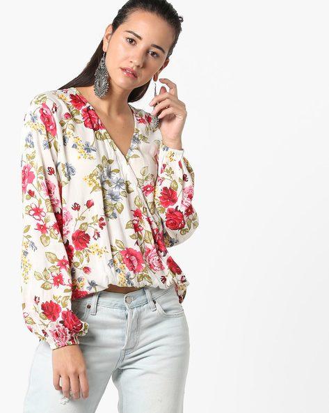 Floral Print Blouse With Surplice Neckline By AJIO ( White )