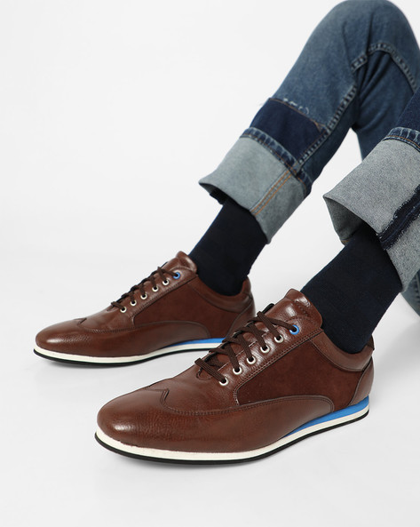 Wingtip Lace-Up Casual Shoes By Funk ( Brown )