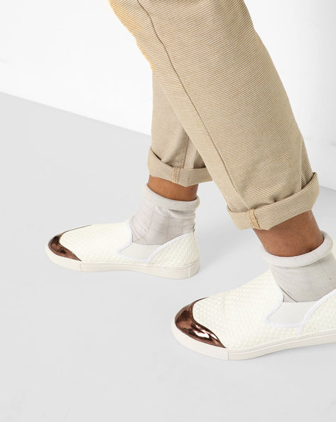 Textured Slip-Ons With Metallic Overlay By AJIO ( White )