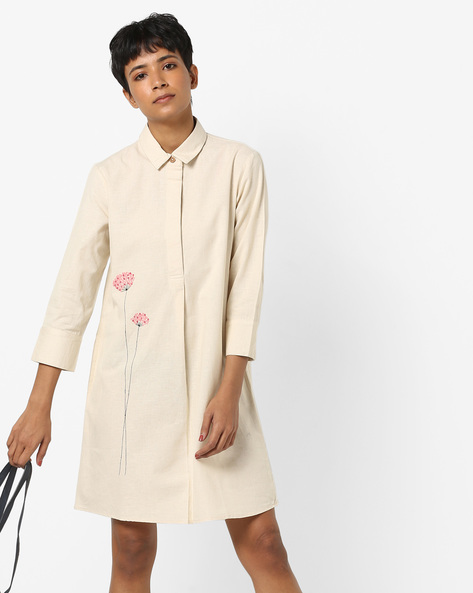 Shirt Dress With Floral Embroidery By AJIO ( Ecru )