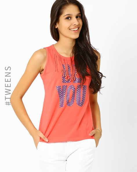 T-shirt With Fringe Neckline By AJIO Girl ( Coral )