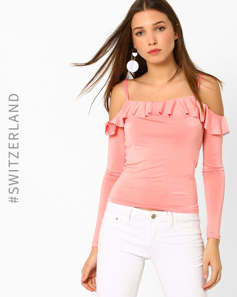 Cold-Shoulder Top With Ruffles By TALLY WEiJL ( Pink )