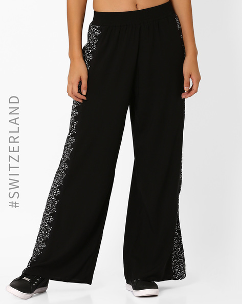 Floral Print Wide-Leg Trousers By TALLY WEiJL ( Black )