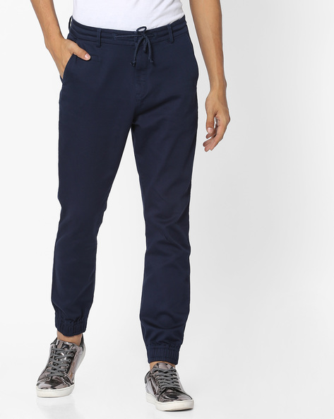 Cuffed Trousers With Drawstring Fastening By UNITED COLORS OF BENETTON ( Navyblue )