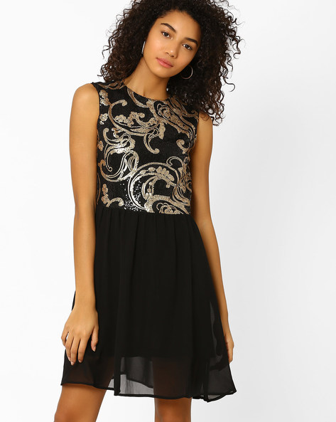 Sequin Embellished Fit & Flare Dress By AJIO ( Black )