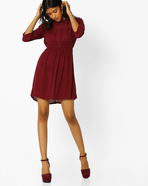 A-line Dress With Lace Overlay By Oxolloxo ( Red )