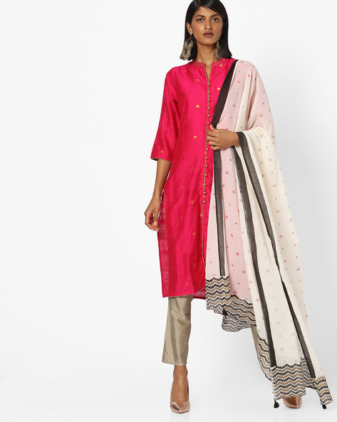 Printed Kurta With Dupatta By AVAASA SET ( Fuschia )