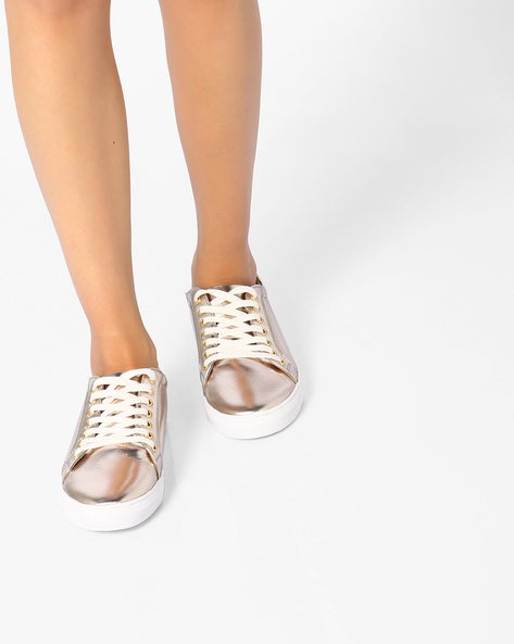 Metallic Lace-Up Casual Shoes By AJIO ( Lightgold )