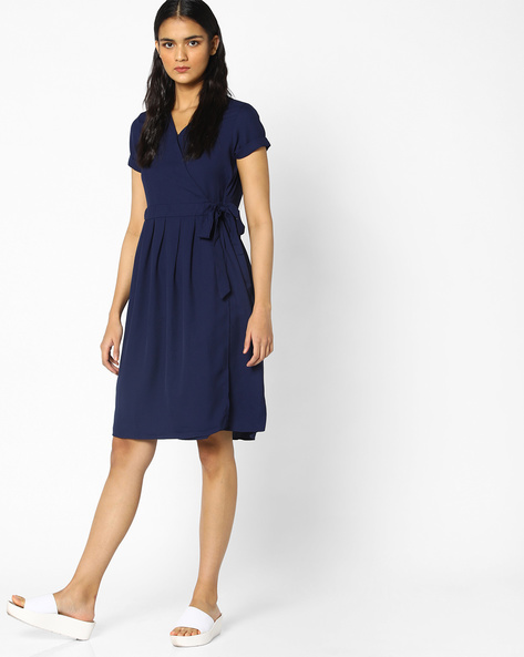 Wrap Dress With Upturned Sleeve Hems By PE WW Work ( Navy )