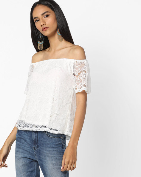 Off-Shoulder Lace Top By Only ( Offwhite )