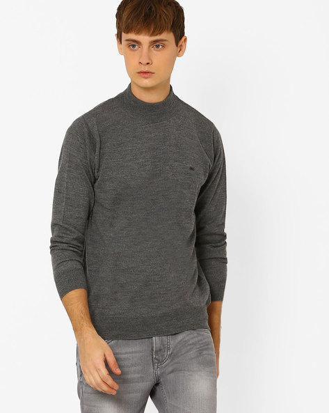 Woollen Regular Fit Sweater By MONTE CARLO ( Grey )