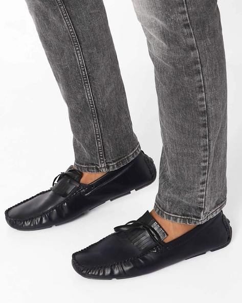 Panelled Casual Shoes By Modello Domani ( Black )