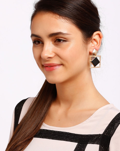 Black & Gold-Plated Drop Earrings By Ssoul ( Black )