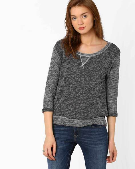 Knit Top With High-Low Hemline By Teamspirit ( Charcoal )