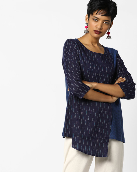 Layered Ikat Print Top By PE IW Fusion ( Blue )