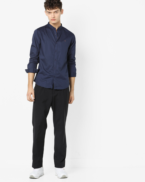 Slim Fit Shirt With Band Collar By SPYKAR ( Navy )