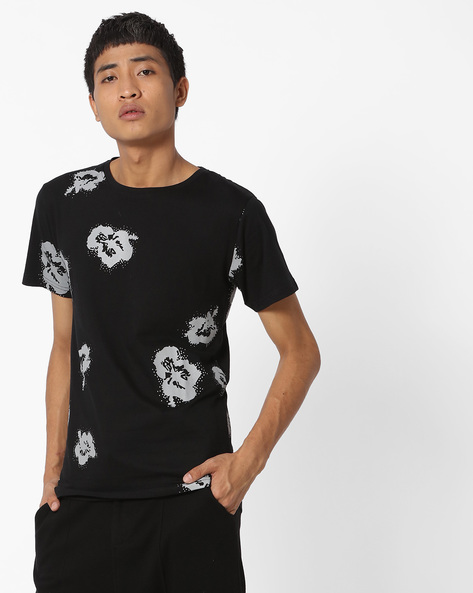 Printed Crew-Neck Tshirt By Blue Saint ( Black ) - 460123099001