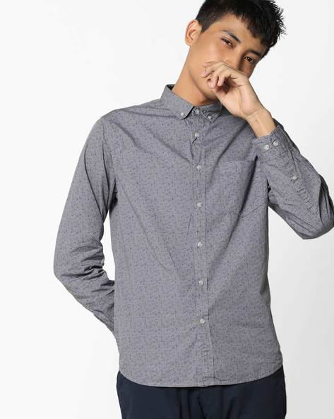 Ditsy Print Slim Fit Shirt By AJIO ( Lightgrey )
