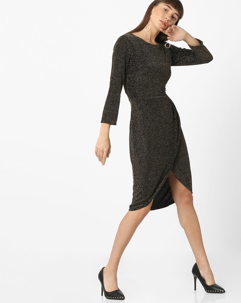 Textured Sheath Dress With Overlapping Front By ISU ( Blackgold )