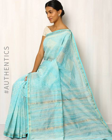 Printed Maheshwari Saree With Zari Border By Indie Picks ( Lightblue )
