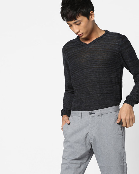 Striped V-neck Pullover By GAS ( 0194 )