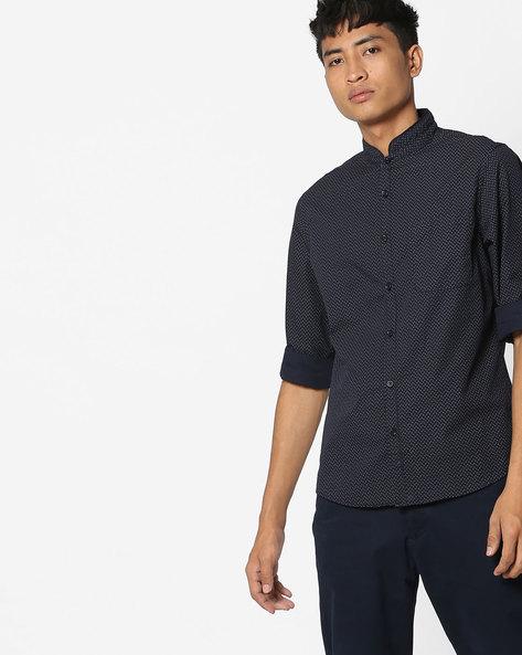 Micro Print Shirt With Mandarin Collar By AJIO ( White )