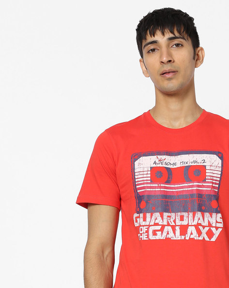 GOTG Print Crew-Neck T-shirt By Souled Store ( Red )