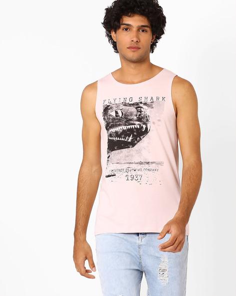 Graphic Print Sleeveless T-shirt By AJIO ( Pink )