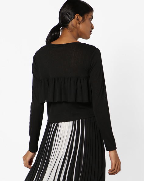 Long Sleeves Top With Ruffles By Ginger By Lifestyle ( Black )
