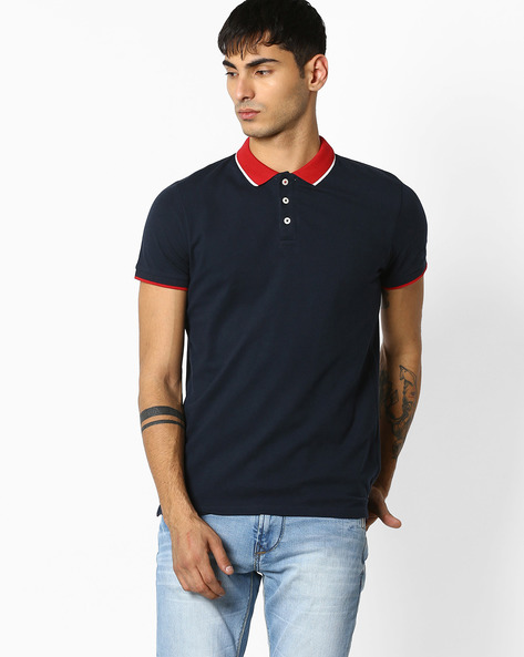 Slim Fit Polo T-shirt By Celio ( Navy )